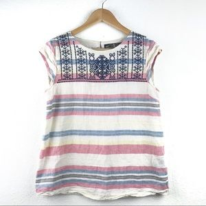 Anthropologie James Coviello Embroidered Top S